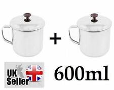 2 x Stainless Steel Dixie Handle Cup Water Mug 600ml Camping Hiking Buscraft UK