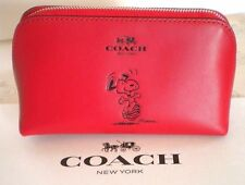 NWT COACH X PEANUTS DANCING SNOOPY RED LEATHER COSMETIC BAG LIMITED EDITION CASE