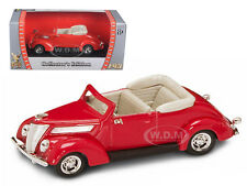 1937 FORD V8 CONVERTIBLE RED 1/43 DIECAST MODEL CAR BY ROAD SIGNATURE 94230