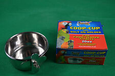 Stainless Steel Coop Cup 20oz Dish Bolt on Holder Parrot,Guinea pig,chinchilla