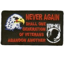 NEVER AGAIN ABANDON ANOTHER POW-MIA VETERAN EMBROIDERED PATCH