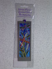 DRAGONFLY@BOOKMARK@Stained Glass~SILVER Plated@Unique gift@Reading@Loveable fly