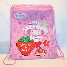 Strawberry Shortcake String Backpack book bag tote Sparkle Glitter Pink