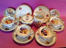 Jaeger Orchard Creamer Sugar And 6 Cups And Saucers - PMR Golden Crown Bavaria