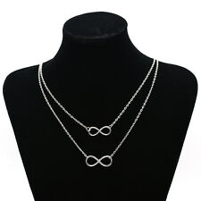 Infinity Lucky 8 Pendant Bib Necklace Double Chain Sexy Collar Jewellery Silver