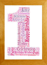 PERSONALISED 1st 18th 21st 30th 40th 50th WORD ART PRINT BIRTHDAY KEEPSAKE GIFT