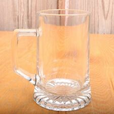 Vintage Tall Clear Glass Beer Mug Stein Radial Bottom Pattern