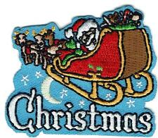boy girl cub Merry CHRISTMAS Santa Sleigh Fun Patches Crests Badges SCOUT GUIDES