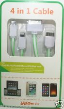 1 Meter 4 in 1 USB Flat Charge Cable Apple 8 Pin/30-Pin/Micro USB/Note 3(Green)
