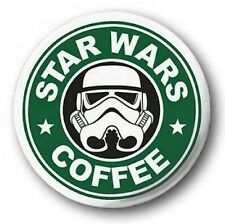 STAR WARS COFFEE - 1 inch / 25mm Button Badge - Starbucks Spoof Logo Cute