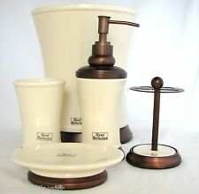 NEW 5 PC SET CREAM+COPPER BROWN SOAP DISPENSER+DISH+TOOTHBRUSH+TUMBLER+TRASH CAN