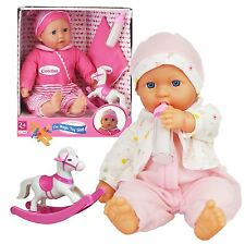New Born Soft Bodied Baby Doll Toy with Outfit Milk Bottle and Rocking Horse Toy