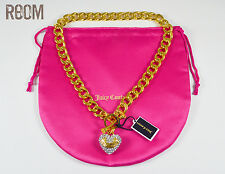 Juicy Couture Crown Toggle PAVE BANNER HEART STARTER NECKLACE Gold Color