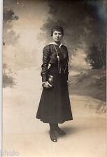 BL453 Carte Photo vintage card RPPC Femme mode fashion sac main bag décor studio