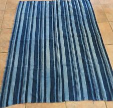 "Vintage Dogon,Mali Indigo Dyed Striped Fabric/Hand Woven Cotton Strips/42""x55"""