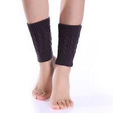 Women Winter Leg Warmers Warm Crochet Knit High Knee Slouch Boot Socks Dark Gray