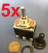 5 Pieces Black Waterproof boot cap DPDT momentary Toggle switch 5x ON/OFF/ON amp