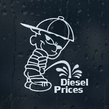 Calvin Pee On Diesel Prices Funny Car Decal Vinyl Sticker For Window Bumper