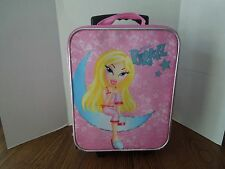 "BRATZ Girls Suitcase Pink on Wheels Pull Along 15 1/2"" x 12"" x 4 1/2"" Canvas"