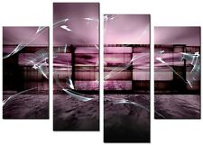 4 PANEL A1 SIZE 90x70cm ABSTRACT ART Large  DIGITAL Canvas Print Oasis Plum