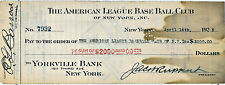 JSA Jacob Ruppert Ed Barrow dual signed check RARE Babe Ruth collection HOF