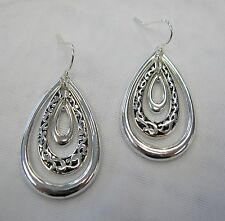 Silver Plated Designer Look Classic Dangle Filigree Drop Earrings # 3217 NEW