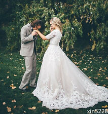 Princess Wedding Dress A Line Modest Half Sleeve Fall Winter Bridal Gowns Custom