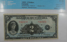 BANK OF CANADA 1935 $2.00 FRENCH TEXT SERIAL #f402172 CCCS FINE-12 SEE PICTURES