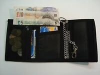 GENTS TRIFOLD WALLET WITH SECURITY CHAIN VELCRO CLOSER AND ZIP NOTE POCKET