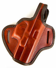 BROWN LEATHER OWB BELT SLIDE HOLSTER w/ THUMB BREAK for RUGER SR9