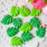 5x 10pcs Green Leaves Resin Cabochons Flatback Crafts DIY Scrapbooking Hair Bow