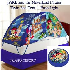 Kids Disney JAKE The Neverland Pirates BED TENT+Push Night Light Set TWIN/Single