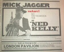 ROLLING STONES Mick is Ned Kelly 1970  UK Press ADVERT 7x6""