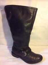 Finish The Look Black Mid Calf Leather Boots Size 5