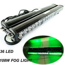 "18""  Double Side 108W LED Car Police Bar Beacon Warning Strobe Light Green White"