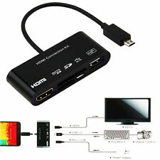 New 5in1 Micro USB MHL to HDMI HDTV Adapter + USB OTG SD Card Reader for Mobiles