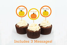 Pumpkin Chevron Gender Neutral Cupcake Toppers Party Favor Tags Printable