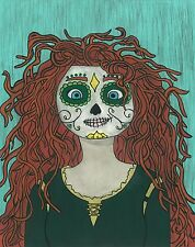 Merida Day of the Dead print 8X10, Comic character and Pop Art