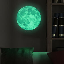 3D Large Moon Fluorescent Glow In Dark Wall Sticker Home Kids Room Decor DIY Art