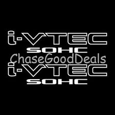 WHITE I-VTEC SOHC STICKER X2 DECAL EMBLEM CIVIC S2000 ACCORD JDM IMPORT ILLEST