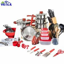 New 80 Piece Kitchen Cookware Pots and Pans with Lids Cooking Starter Combo Red