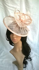 Nude pink  Sinamay & feather saucer disc fascinator,.Wedding.races..headband