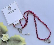 Cute! AEO Silvertone Fuchsia Cord & Rhinestone Peace Heart Pendant Necklace New!