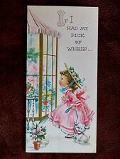 Vintage Birthday Card Pretty Girl Pink Dress Bonnet w/ Puppy Peeks n Shop Window