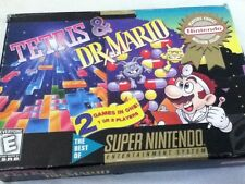 RARE Tetris & Dr Mario SUPER NINTENDO Retro Snes 2 Games On 1 Cart Vtg