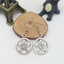 New 1 pair Free shipping Fashion Antique silver Jewelry pentagram earring