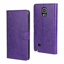 For Samsung Galaxy Note 4 Purple Leather Cash Card Wallet Case Cover Stand