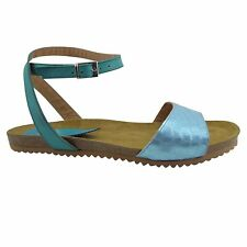 Size 12 (EU 44 /UK 10) Blue Leather & Cork Flat Sandals Made in Spain