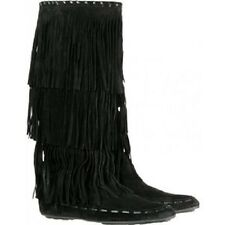 JIMMY CHOO boots black suede 'Wendy' fringe SIZE 36.5  NEW $995