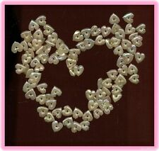 Puffy Iris CELLULOID HEARTS Valentine Vintage SEQUINS Bead Charms Hollow lot